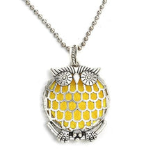 Load image into Gallery viewer, intricate owl with large grated tummy diffuser necklace