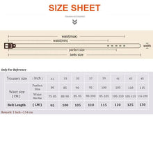 Load image into Gallery viewer, sturdy brown belt for men sizing chart
