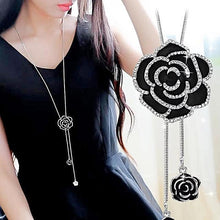 Load image into Gallery viewer, woman in black dress wearing black rose pendant