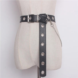 black chain grommets belt extra long