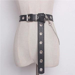 black punk rock belt with chain and metal eyelets
