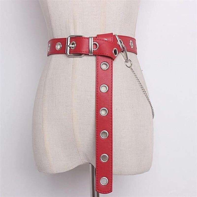 red punk rock belt extra long with metal chain and eyelets