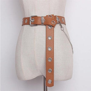 brown punk chain and grommets belt