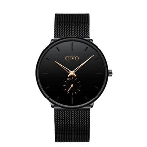 ultra thin modern black and gold dial watch for men