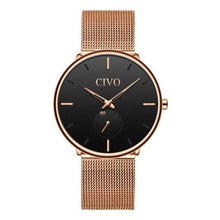 Load image into Gallery viewer, ultra thin modern gold mesh gold dial watch for men