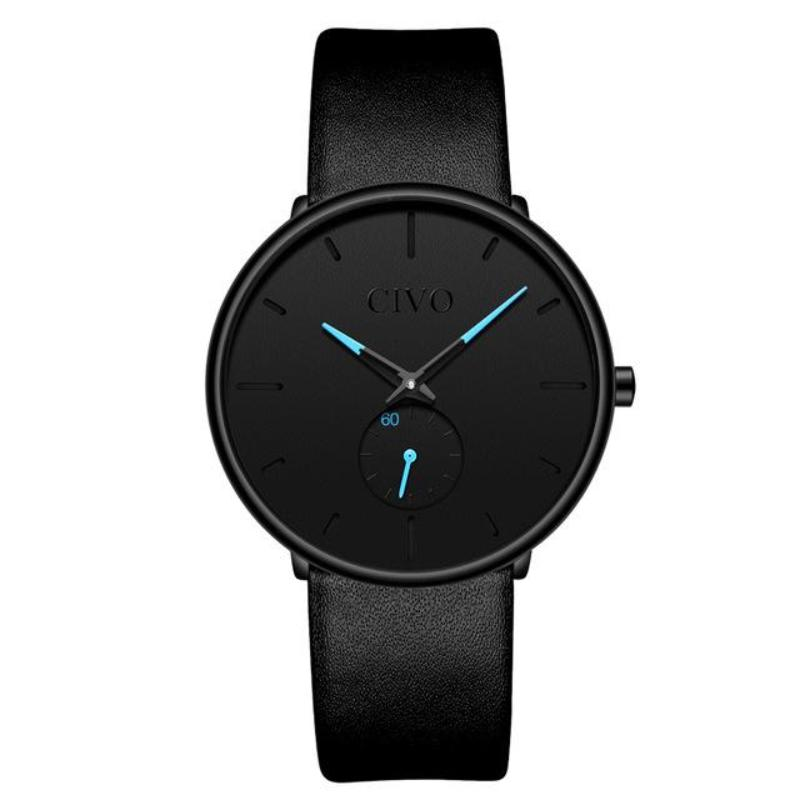ultra thin modern watch for men in black azure dial variant 2