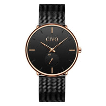 Load image into Gallery viewer, ultra thin minimalist black gold dial watch for men variant 2