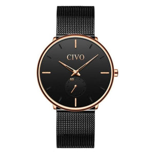 ultra thin minimalist black gold dial watch for men variant 2