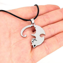 Load image into Gallery viewer, silver puzzle piece cat friendship necklace