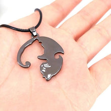 Load image into Gallery viewer, bronze puzzle piece cat friendship necklace
