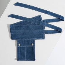 Load image into Gallery viewer, denim belt folded on table