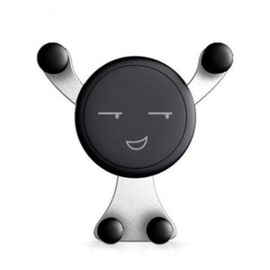 silver emoji cell phone car mount