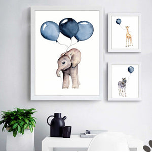 Blue Balloon Safari Art Posters