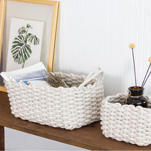 Load image into Gallery viewer, Linen Large Crochet Handmade Storage Basket