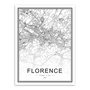 World Cities Street Maps - Wall Art Prints