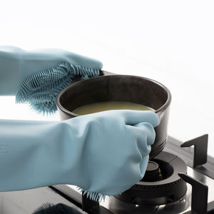 2-in-1 Silicone Heat Insulated Cooking Mits & Scouring Gloves