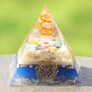 7 Chakra Crystal Stones Orgone Pyramid Generator Energy Accumulator Orgonite Reiki Pyramid for Positive energy