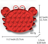 Push Bubble Sensory Fidget Toy, Silicone Anxiety Stress Reliever Toys,Squeeze Sensory Toy,Special Needs Stress Reliever Silicone Stress Reliever Toy for Kids Adults BPA Free (Crab Red)
