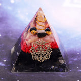 Healing Crystal Energy Converter Orgonite Pyramid Resin Orgone Stone Lucky Figurine Decor For Reiki Chakra Balancing Size- 6CM