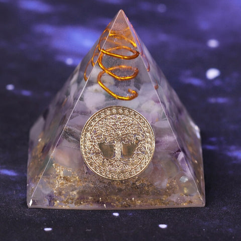 Natural Fluorite Orgonite Pyramid Energy Converter Helps Career Resin Decorative Craft That Changes The Magnetic Field Of Life Size- 5CM