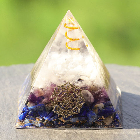 Natural Lapis Lazuli Orgonite Pyramid Withrock Crystal Quartz Amethyst Pyramid Powerful Reiki Energy Orgone Collection Size- 6CM