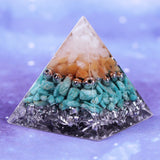 Orgonite Pyramid Energy Converter Natural Amazonite Healing Helping Chakra Resin Decorative Craft Jewelry Wicca Size- 5CM