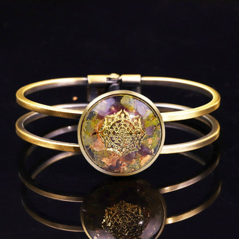 Orgonite Bangle Natural Crystal Chakra Bracelet Reiki Stone For Jewelry Making For Women Jewelry Gifts Couples Bracelets