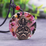 Natural Multi Colors Tourmaline Orgonite Pendant With Manjusri Buddha Energy Necklace Bodhisattva Amulet Jewelry