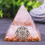 Natural Rose Quartz Sphere Orgonite Pyramid Reiki Chakra Energy Orgone Pyramide Collection Emf Protection Size- 6CM