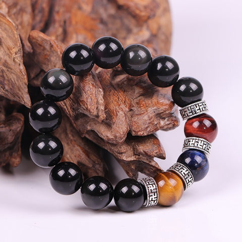 14Mm Natural Black Obsidian Bracelet Tiger Eye Beads Energy Bracelets For Men Health Protection Jewelry Pulsera Hombre