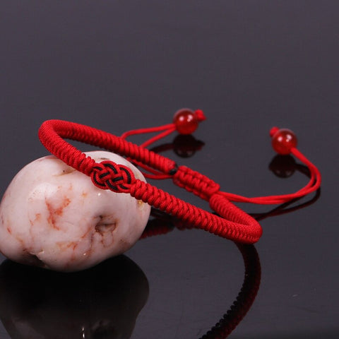Hot Sale Red Black Rope Bracelet Handmade Knitted knot Lucky Bracelet Adjustable Couple Jewelry Gifts