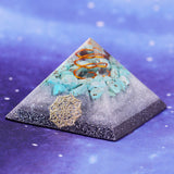 Orgonite Pyramid Natural Turquoises Resin Energy Pyramid Enhance Creative Jewelry Transport Feng Shui Decoration Orgone Size- 7CM