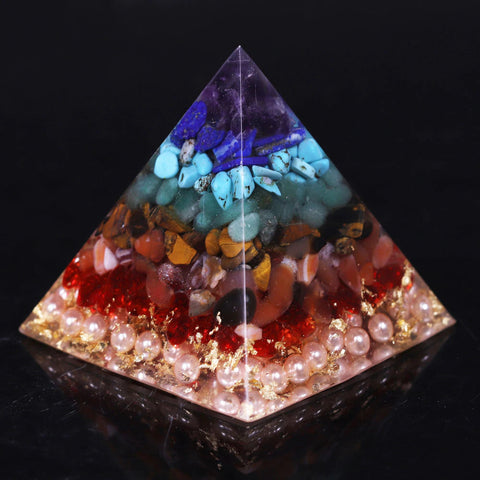Orgonite Chakra Healing High Frequency Energy Seven Chakra Pyramid Meditation Balance Healing Yoga Transit Resin Decoration Size- 6CM