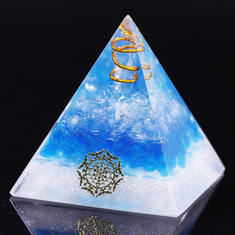Orgone Pyramid With Healing Blue Glass Gravel Energy Generator Pyramid For Emf Protection Chakra Balancing Positive Size- 5CM