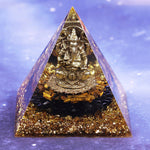Healing Crystal Orgone Pyramid With Copper Wire Ganesh Energy Generator For Emf Protection Mediation Home Office Decor Size- 8CM