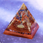 Chakra Orgonite Pyramid Natural Stone Reiki Healing Energy Tree Of Life Orgonite Resin Decorative Size- 9CM