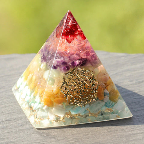 Orgonite Energy Pyramid Natural Chakra Crystal Stone Emf Protection For Chakra Healing Energy Generator Resin Decorative Size- 6CM