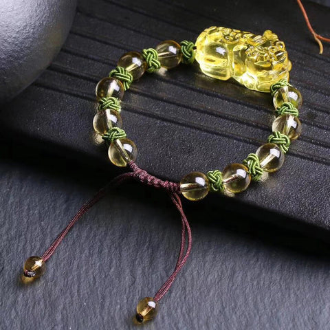Natural yellow crystal bead Bracelet Brave troops Buddhist Bracelet feminine jewelry
