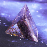 Orgonite Pyramid Natural Amethyst Yoga Energy Decoration Pyramid Resin Craft Feng Shui Ornaments Transfer Home Living Room Size- 5CM
