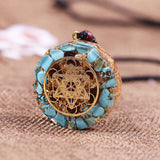 Natural Turquoises Orgonite Pendant Reiki Healing Energy Generator EMF Radiation Protection Necklace Jewelry