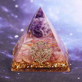 Handmade Amethyst Crystal Sphere Orgonite Pyramid Strawberry Crystal Reiki Chakra Energy Orgone Collection Emf Protection Size- 6CM