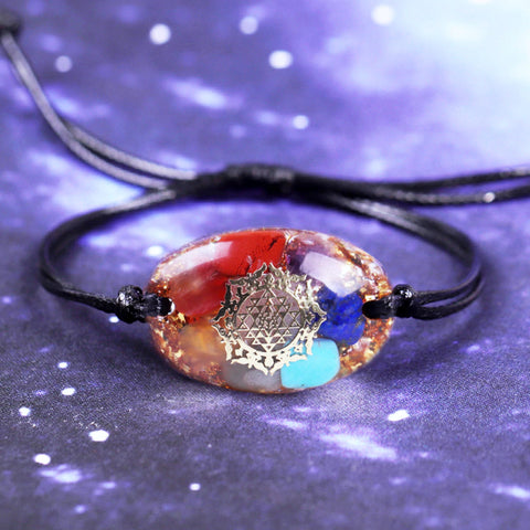 Orgone Bracelet 7 Chakra Blancing Energy Crystals Bangle Emf Protection Healing Orgonite Jewelry Charm Handmade Gift