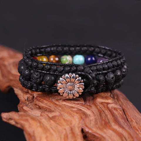 Colourful 7 Chakra Bracelet Black Matte Bead Leather Multilayer Charm Bracelet Couples Pray Meditation Bracelet Gifts