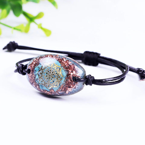 Chakra Orgone Meditation Adjustable Bracelet For Women Crystal Energy Generator Reiki Healing Balancing Emf Protection Jewelry