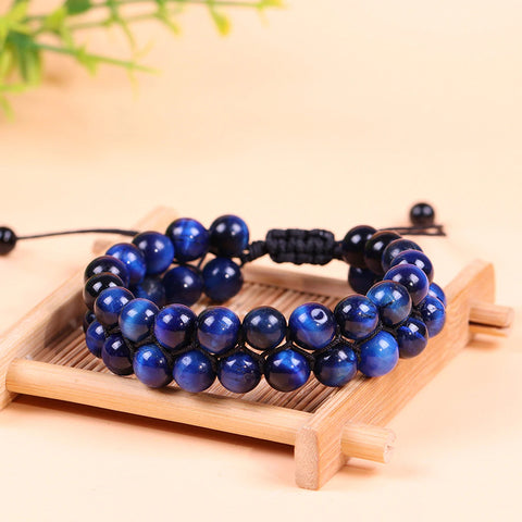 Blue Tiger Eye Men's Bracelet Beads Natural Stone Handmade Adjustable Charm Bracelets for Women Men Jewelry 2019