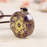Orgonite Necklace Metatron Cube Resin Pendant Cosmic Energy Center Sign Pendant Necklace Magic Hexagram Choker Jewelry