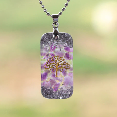 Natural Amethystine Necklace Orgonite Pendant Life Of Tree Energy Necklace Yoga Jewelry