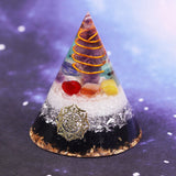 Orgonite Pyramid Amethystine Point In Gold Circle With Colourful Stone And Obsidian Natural Crystal Emf Protection Orgone Energy Size- 6CM
