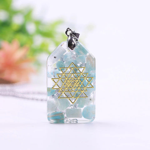 Orgonite Pendant Necklace Amazonite Natural Crystal Energy Chakra Jewelry Emf Protection Healing Orgone