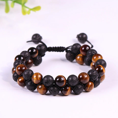 Lava Stonebracelet Energy Yoga Bracelet Yellow Tiger Eye Bead Bracelet Adjustable Bracelet For Men Buddhist Jewelry